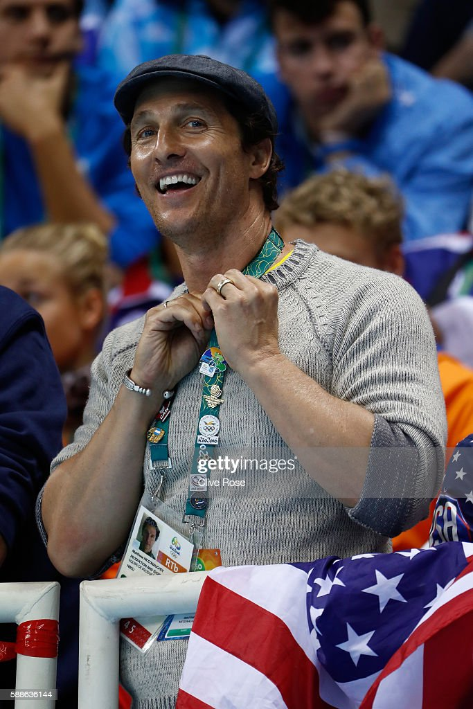 Actor Matthew McConaughey attends the evening swim session on Day 6 of the Rio 2016 Olympic Games at the Olympic Aquatics Stadium on August 11 2016...