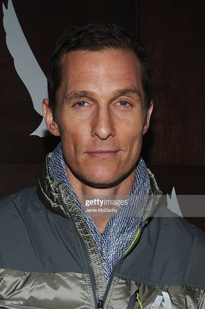Actor <a gi-track='captionPersonalityLinkClicked' href=/galleries/search?phrase=Matthew+McConaughey&family=editorial&specificpeople=201663 ng-click='$event.stopPropagation()'>Matthew McConaughey</a> attends the Grey Goose Blue Door 'Mud' Dinner on January 19, 2013 in Park City, Utah.