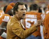 Actor Matthew McConaughey attends the Tostitos Fiesta Bowl Game between the Texas Longhorns and the Ohio State Buckeyes on January 5 2009 at...