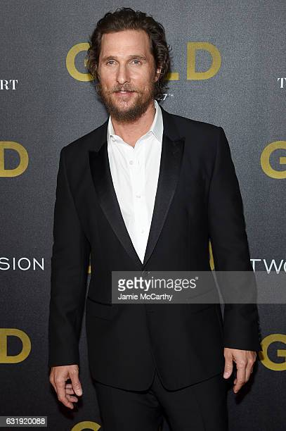 Actor Matthew McConaughey attends The World Premiere of 'Gold' hosted by TWC Dimension with Popular Mechanics The Palm Court Wild Turkey Bourbon at...