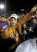 Actor Matthew McConaughey celebrates after the Texas Longhorns defeated the USC Trojans 4138 to win the BCS National Championship Rose Bowl Game on...