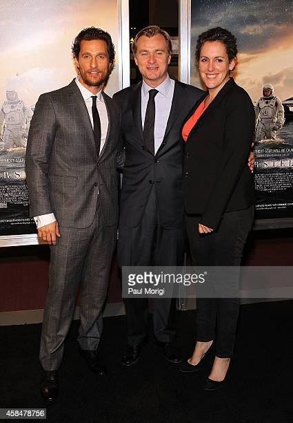 Actor Matthew McConaughey director Christopher Nolan and producer Emma Thomas attend the 'Interstellar' Washington DC Premiere at Smithsonian's...
