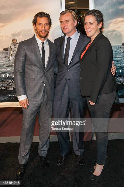 Actor Matthew McConaughey director Christopher Nolan and producer Emma Thomas attend the 'Interstellar' premiere at the National Air and Space Museum...