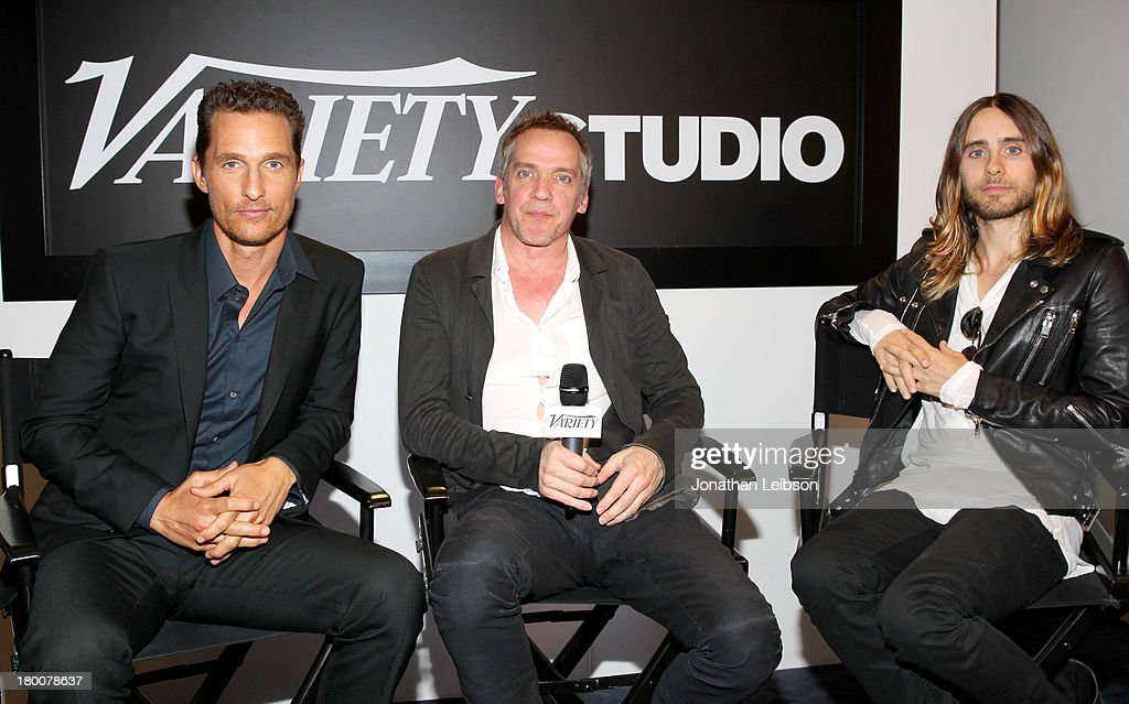 Actor <a gi-track='captionPersonalityLinkClicked' href=/galleries/search?phrase=Matthew+McConaughey&family=editorial&specificpeople=201663 ng-click='$event.stopPropagation()'>Matthew McConaughey</a>, director Jean-Marc Vallée and actor <a gi-track='captionPersonalityLinkClicked' href=/galleries/search?phrase=Jared+Leto&family=editorial&specificpeople=214764 ng-click='$event.stopPropagation()'>Jared Leto</a> attend Variety Studio Presented by Moroccanoil at Holt Renfrew during the 2013 Toronto International Film Festival on September 8, 2013 in Toronto, Canada.