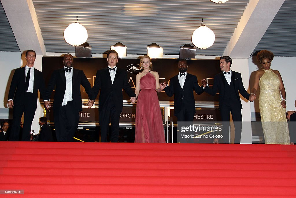 Actor Matthew McConaughey, director Lee Daniels, actors John Cusack, Nicole Kidman, David Oyelowo, Zach Efron and Macy Gray depart the 'The Paperboy' premiere during the 65th Annual Cannes Film Festival at Palais des Festivals on May 24, 2012 in Cannes, France.