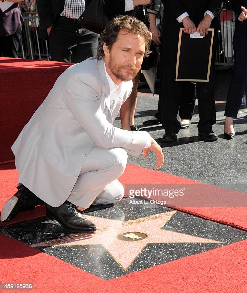 Actor Matthew McConaughey is honored on the Hollywood Walk of Fame on November 17 2014 in Hollywood California