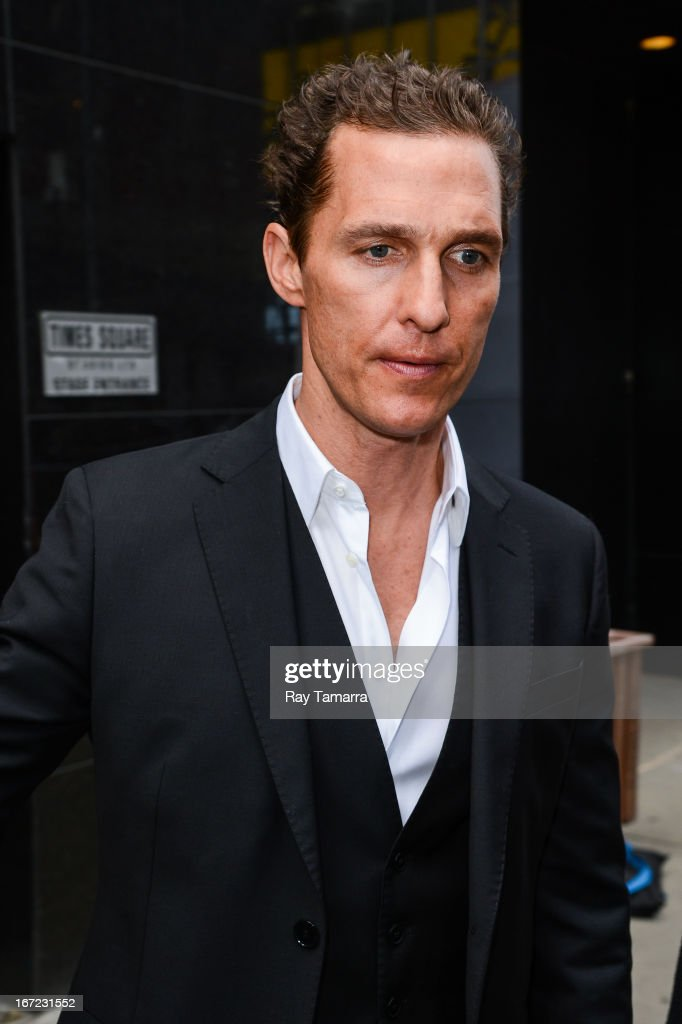 Actor <a gi-track='captionPersonalityLinkClicked' href=/galleries/search?phrase=Matthew+McConaughey&family=editorial&specificpeople=201663 ng-click='$event.stopPropagation()'>Matthew McConaughey</a> leaves the 'Good Morning America' taping at the ABC Times Square Studios on April 22, 2013 in New York City.