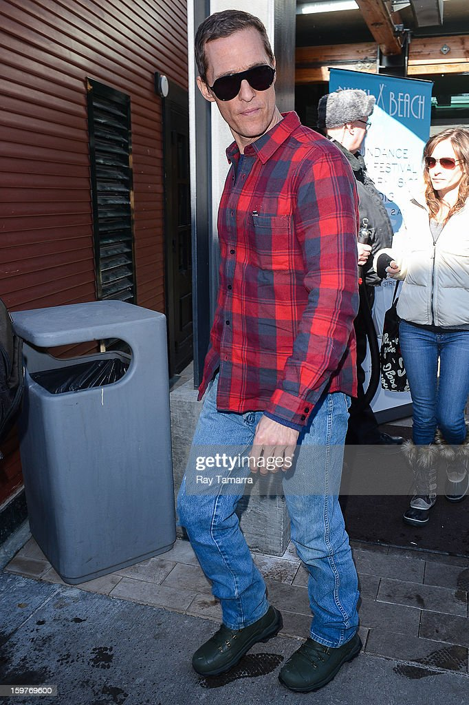Actor Matthew McConaughey leaves the Nikki Beach Lounge at the Sky Lodge on January 19, 2013 in Park City, Utah.