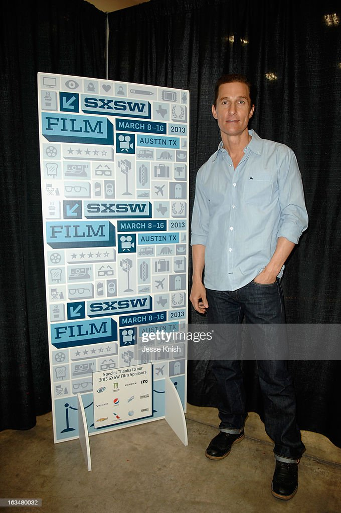 Actor <a gi-track='captionPersonalityLinkClicked' href=/galleries/search?phrase=Matthew+McConaughey&family=editorial&specificpeople=201663 ng-click='$event.stopPropagation()'>Matthew McConaughey</a> poses in the greenroom at A Conversation With <a gi-track='captionPersonalityLinkClicked' href=/galleries/search?phrase=Matthew+McConaughey&family=editorial&specificpeople=201663 ng-click='$event.stopPropagation()'>Matthew McConaughey</a> during the 2013 SXSW Music, Film + Interactive Festival at Austin Convention Center on March 10, 2013 in Austin, Texas.