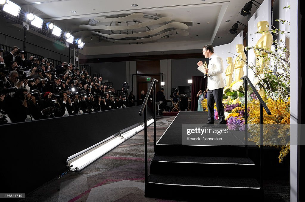 Actor <a gi-track='captionPersonalityLinkClicked' href=/galleries/search?phrase=Matthew+McConaughey&family=editorial&specificpeople=201663 ng-click='$event.stopPropagation()'>Matthew McConaughey</a> poses in the press room duringduring the Oscars at Loews Hollywood Hotel on March 2, 2014 in Hollywood, California.