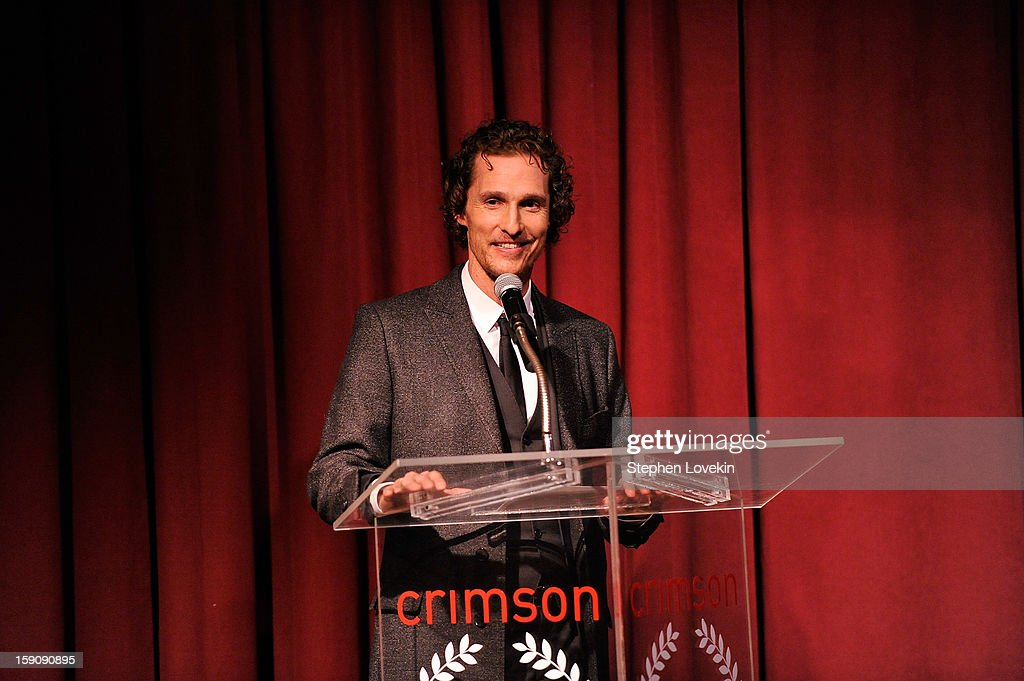 Actor <a gi-track='captionPersonalityLinkClicked' href=/galleries/search?phrase=Matthew+McConaughey&family=editorial&specificpeople=201663 ng-click='$event.stopPropagation()'>Matthew McConaughey</a> speaks onstage at the 2012 New York Film Critics Circle Awards at Crimson on January 7, 2013 in New York City.