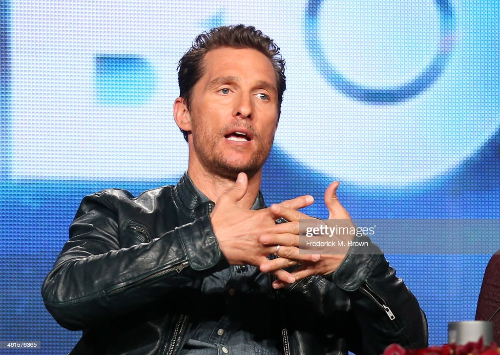 Actor Matthew McConaughey speaks onstage during the 'True Detective' panel discussion at the HBO portion of the 2014 Winter Television Critics Association tour at the Langham Hotel on January 9, 2014 in Pasadena, California.