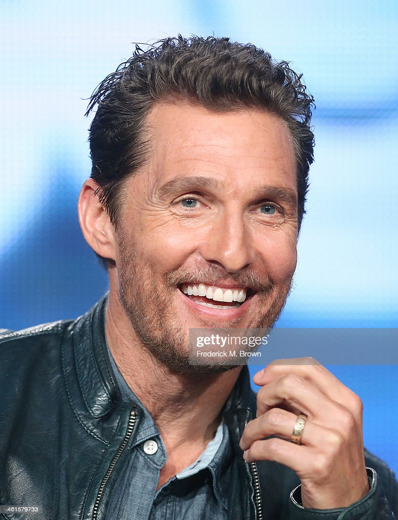 Actor <a gi-track='captionPersonalityLinkClicked' href=/galleries/search?phrase=Matthew+McConaughey&family=editorial&specificpeople=201663 ng-click='$event.stopPropagation()'>Matthew McConaughey</a> speaks onstage during the 'True Detective' panel discussion at the HBO portion of the 2014 Winter Television Critics Association tour at the Langham Hotel on January 9, 2014 in Pasadena, California.