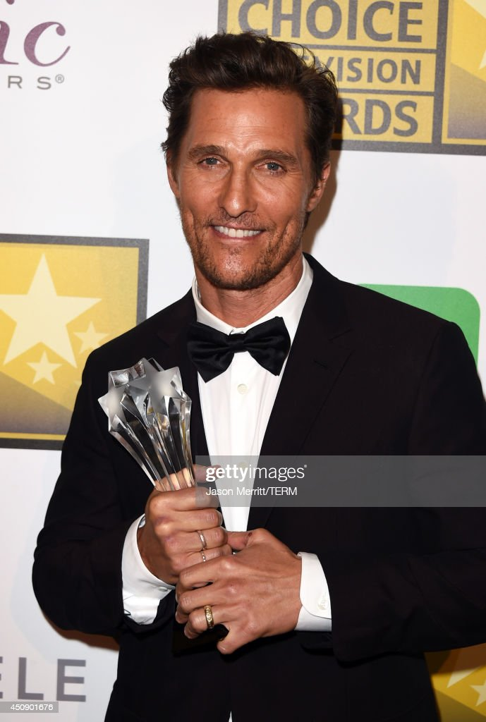 Actor <a gi-track='captionPersonalityLinkClicked' href=/galleries/search?phrase=Matthew+McConaughey&family=editorial&specificpeople=201663 ng-click='$event.stopPropagation()'>Matthew McConaughey</a>, winner of Best Actor in a Drama Series 'True Detective', poses in the press room during the 4th Annual Critics' Choice Television Awards at The Beverly Hilton Hotel on June 19, 2014 in Beverly Hills, California.