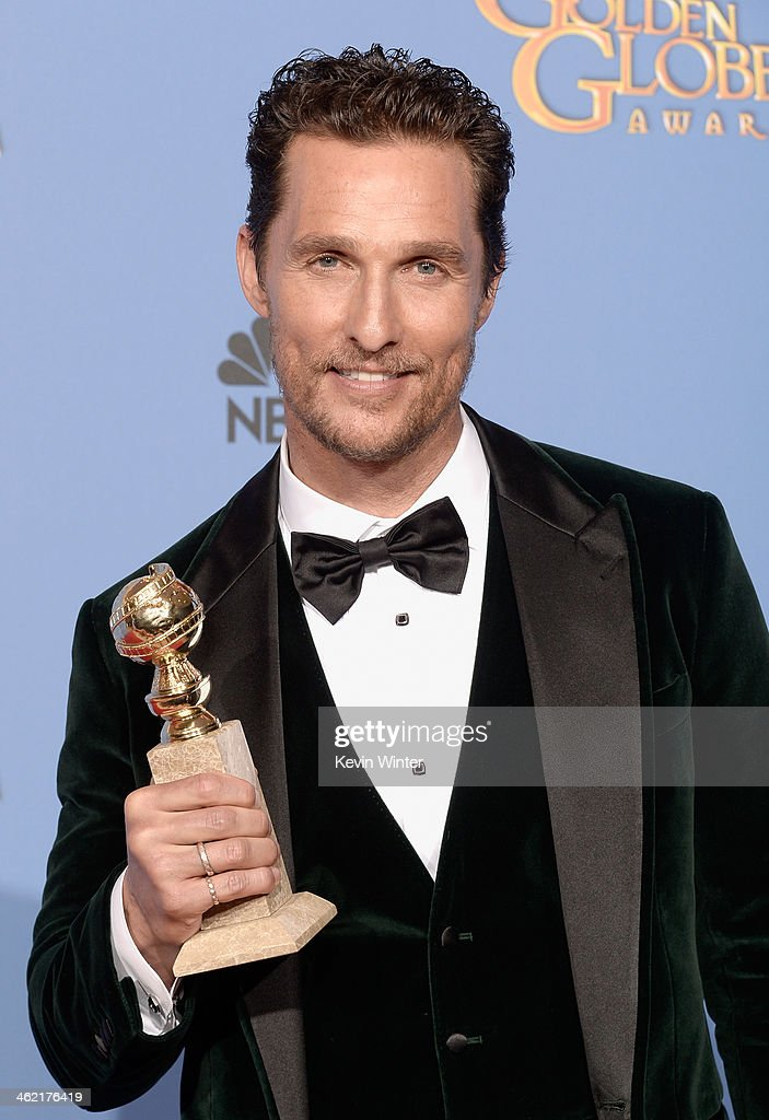 Actor Matthew McConaughey, winner of Best Actor in a Motion Picture - Drama for 'Dallas Buyers Club,' poses in the press room during the 71st Annual Golden Globe Awards held at The Beverly Hilton Hotel on January 12, 2014 in Beverly Hills, California.