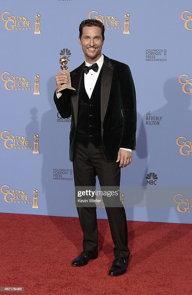 Actor Matthew McConaughey winner of Best Actor in a Motion Picture Drama for 'Dallas Buyers Club' poses in the press room during the 71st Annual...