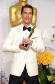 Actor Matthew McConaughey winner of Best Performance by an Actor in a Leading Role poses in the press room during the Oscars at Loews Hollywood Hotel...