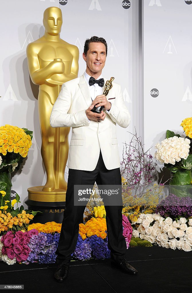 Actor <a gi-track='captionPersonalityLinkClicked' href=/galleries/search?phrase=Matthew+McConaughey&family=editorial&specificpeople=201663 ng-click='$event.stopPropagation()'>Matthew McConaughey</a>, winner of Best Performance by an Actor in a Leading Role for 'Dallas Buyers Club' poses in the press room during the 86th Annual Academy Awards at Loews Hollywood Hotel on March 2, 2014 in Hollywood, California.