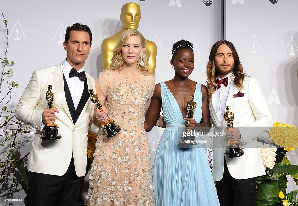 Actor <a gi-track='captionPersonalityLinkClicked' href=/galleries/search?phrase=Matthew+McConaughey&family=editorial&specificpeople=201663 ng-click='$event.stopPropagation()'>Matthew McConaughey</a> winner of Best Performance by an Actor in a Leading Role, <a gi-track='captionPersonalityLinkClicked' href=/galleries/search?phrase=Cate+Blanchett&family=editorial&specificpeople=201621 ng-click='$event.stopPropagation()'>Cate Blanchett</a> winner of Best Performance by an Actress in a Leading Role, <a gi-track='captionPersonalityLinkClicked' href=/galleries/search?phrase=Lupita+Nyong%27o&family=editorial&specificpeople=10961876 ng-click='$event.stopPropagation()'>Lupita Nyong'o</a> winner of Best Performance by an Actress in a Supporting Role and <a gi-track='captionPersonalityLinkClicked' href=/galleries/search?phrase=Jared+Leto&family=editorial&specificpeople=214764 ng-click='$event.stopPropagation()'>Jared Leto</a> winner of Best Performance by an Actor in a Supporting Role pose in the press room during the 86th Annual Academy Awards at Loews Hollywood Hotel on March 2, 2014 in Hollywood, California.