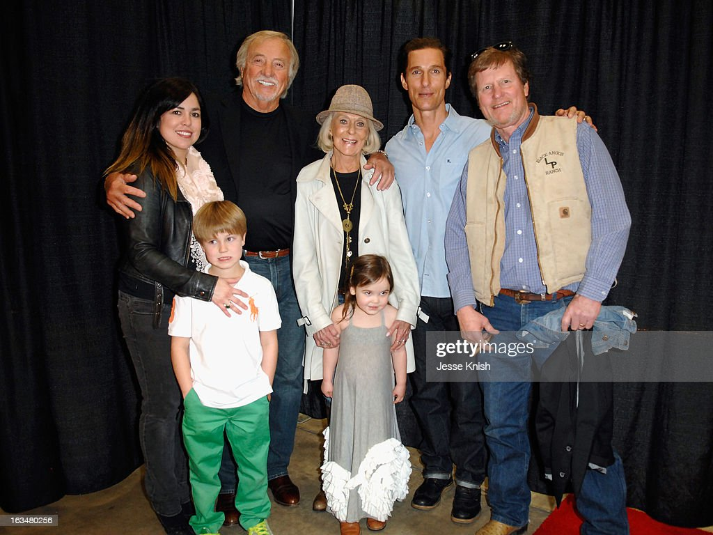 Actor <a gi-track='captionPersonalityLinkClicked' href=/galleries/search?phrase=Matthew+McConaughey&family=editorial&specificpeople=201663 ng-click='$event.stopPropagation()'>Matthew McConaughey</a> with Erica McConaughey and kids Miller and Maggie, CJ McConaughey, Kay McConaughey and Michael McConaughey in the greenroom at A Conversation With <a gi-track='captionPersonalityLinkClicked' href=/galleries/search?phrase=Matthew+McConaughey&family=editorial&specificpeople=201663 ng-click='$event.stopPropagation()'>Matthew McConaughey</a> during the 2013 SXSW Music, Film + Interactive Festival at Austin Convention Center on March 10, 2013 in Austin, Texas.