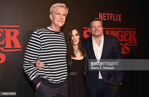 Actor Matthew Modine actress Winona Ryder and Chief Content Officer for Netflix Ted Sarandos attend the Premiere of Netflix's 'Stranger Things' at...