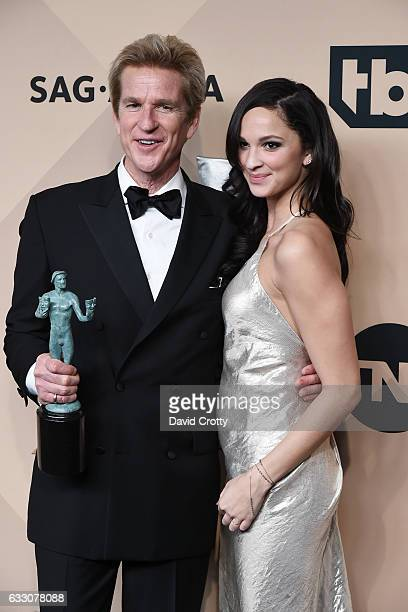 Actor Matthew Modine winner of the Outstanding Ensemble in a Drama Series award for 'Stranger Things' and Ruby Modine pose in the press room at the...