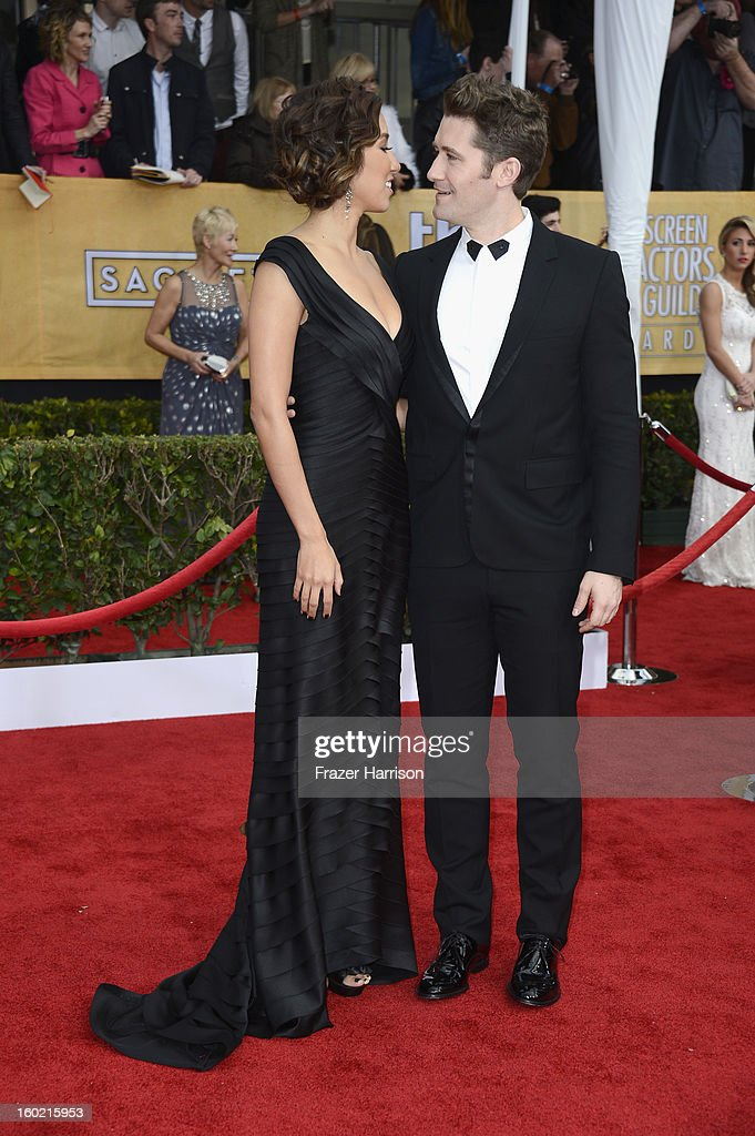 Actor Matthew Morrison (R) and guest arrive at the 19th Annual Screen Actors Guild Awards held at The Shrine Auditorium on January 27, 2013 in Los Angeles, California.
