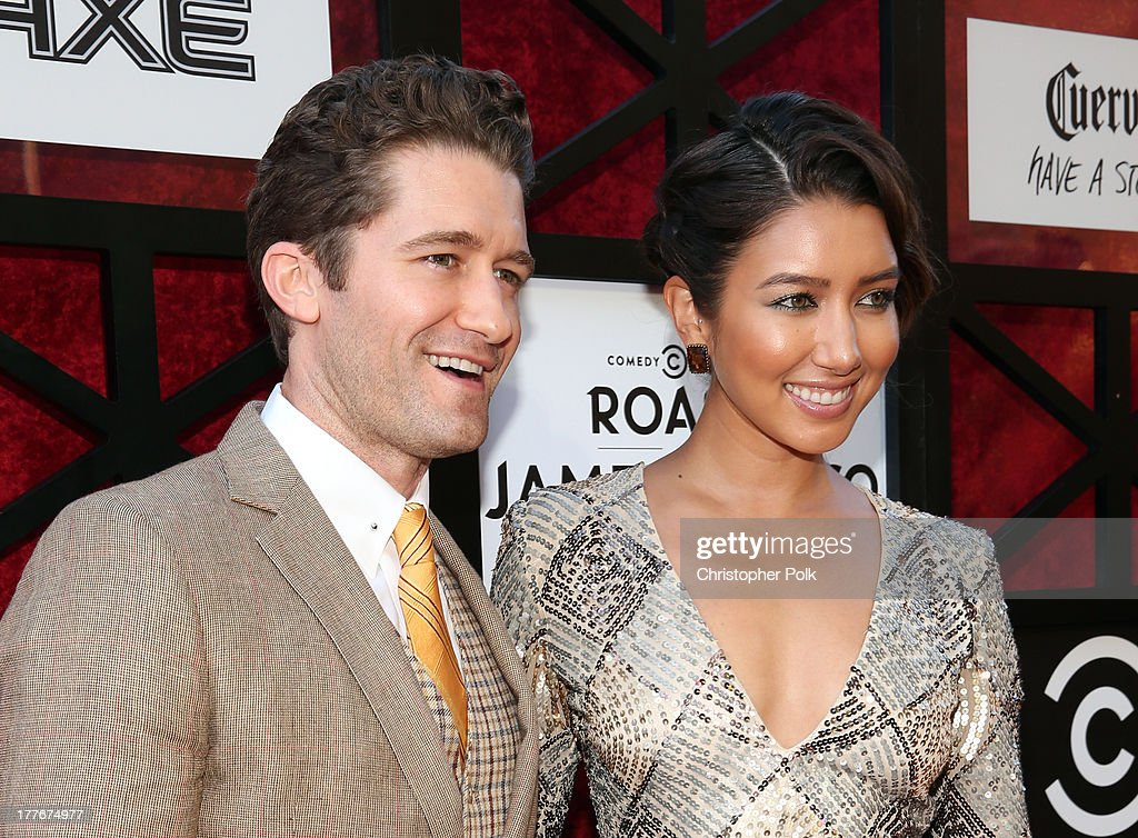 Actor Matthew Morrison and model Renee Puente attend The Comedy Central Roast of James Franco at Culver Studios on August 25 2013 in Culver City...