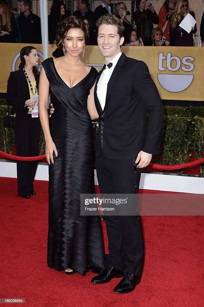 Actor Matthew Morrison (R) and Renee Puente arrive at the 19th Annual Screen Actors Guild Awards held at The Shrine Auditorium on January 27, 2013 in Los Angeles, California.