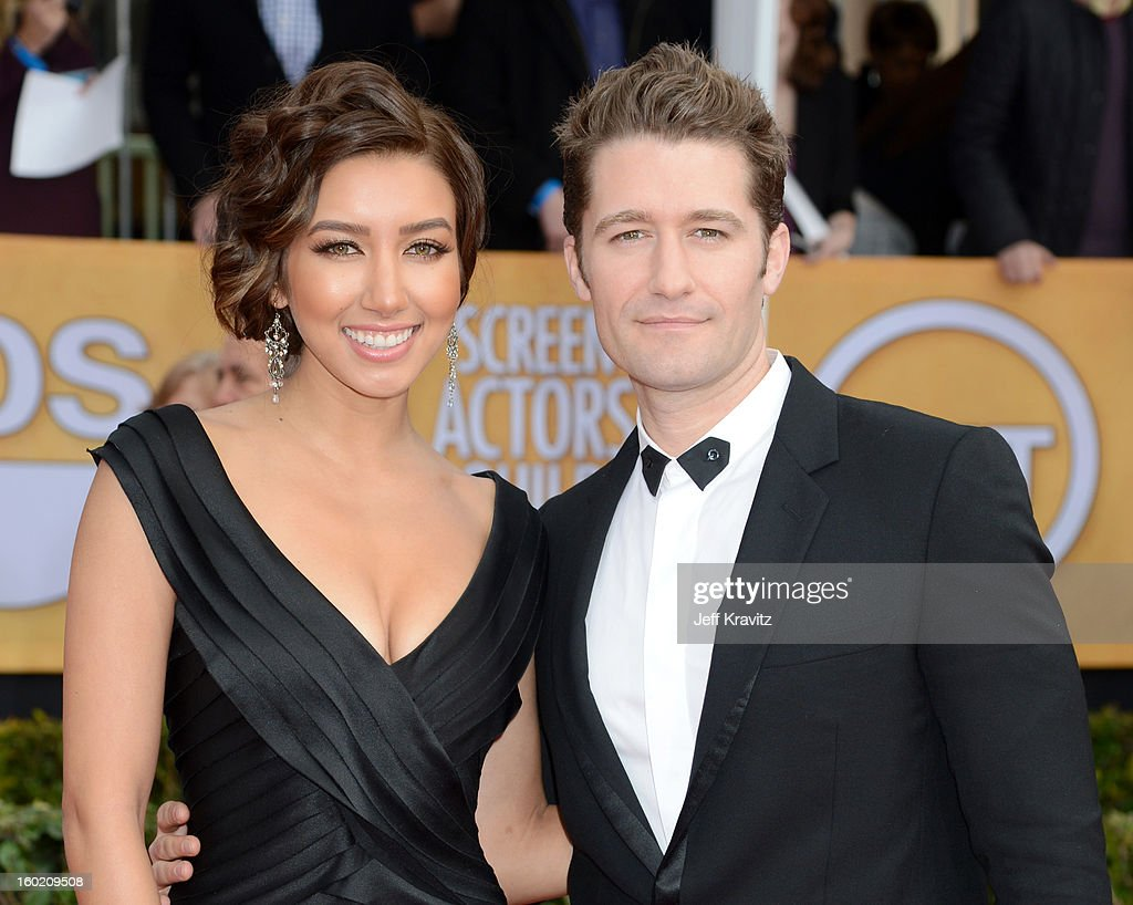 Actor Matthew Morrison and Renee Puente arrive at the 19th Annual Screen Actors Guild Awards held at The Shrine Auditorium on January 27 2013 in Los...