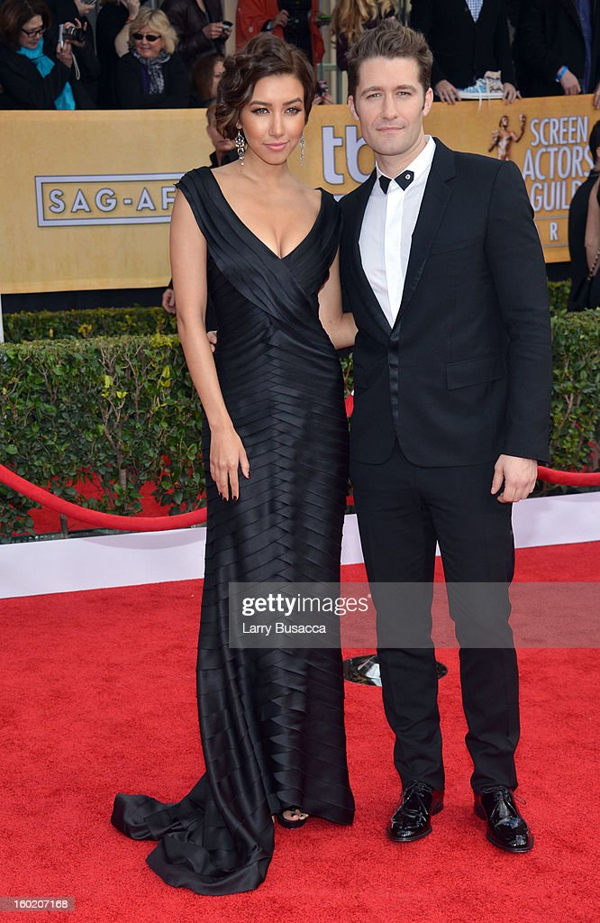 Actor Matthew Morrison (R) and Renee Puente attend the 19th Annual Screen Actors Guild Awards at The Shrine Auditorium on January 27, 2013 in Los Angeles, California. (Photo by Larry Busacca/WireImage) 23116_018_0923.jpg