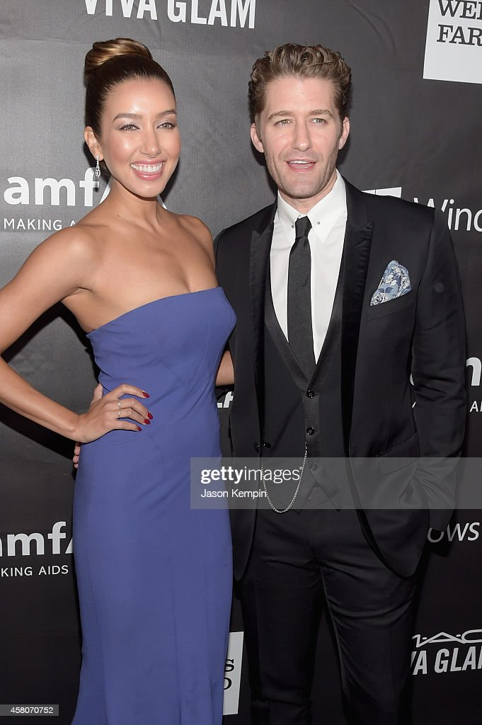 Actor Matthew Morrison and Renee Puente attend the 2014 amfAR LA Inspiration Gala at Milk Studios on October 29 2014 in Hollywood California