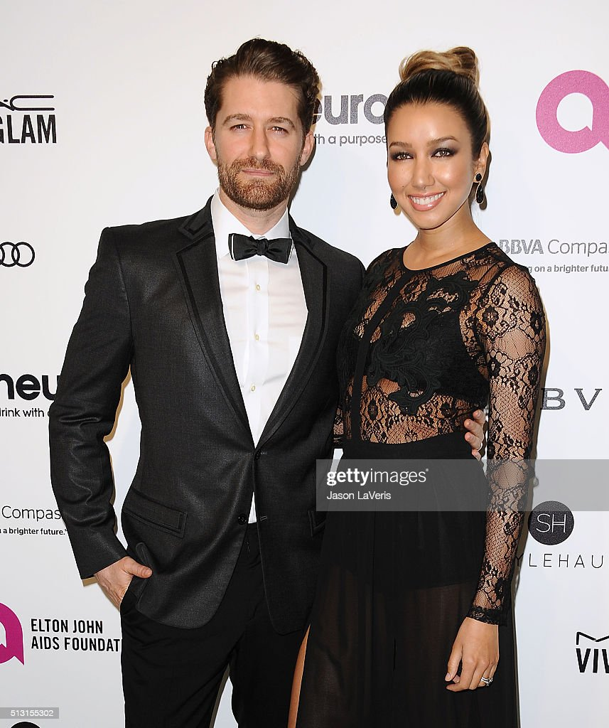 Actor Matthew Morrison and wife Renee Puente attend the 24th annual Elton John AIDS Foundation's Oscar viewing party on February 28 2016 in West...