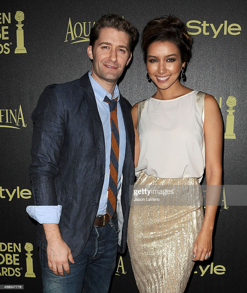 Actor Matthew Morrison and wife Renee Puente attend the Hollywood Foreign Press Association and InStyle's celebration of the 2015 Golden Globe award...