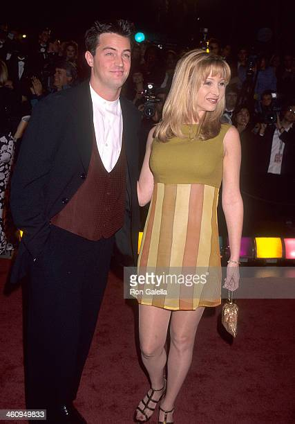 Actor Matthew Perry and actress Lisa Kudrow attend the 10th Annual American Comedy Awards on February 11 1996 at the Shrine Auditorium in Los Angeles...