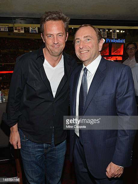 Actor Matthew Perry and NHL Commissioner Gary Bettman attends the Los Angeles Kings vs the New Jersey Devils game one during the 2012 Stanley Cup...