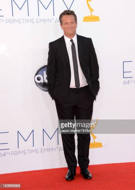 Actor Matthew Perry arrives at the 64th Primetime Emmy Awards at Nokia Theatre LA Live on September 23 2012 in Los Angeles California