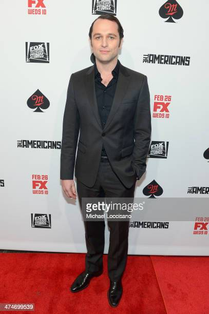 Actor Matthew Rhys attends 'The Americans' season 2 premiere at the Paris Theater on February 24 2014 in New York City