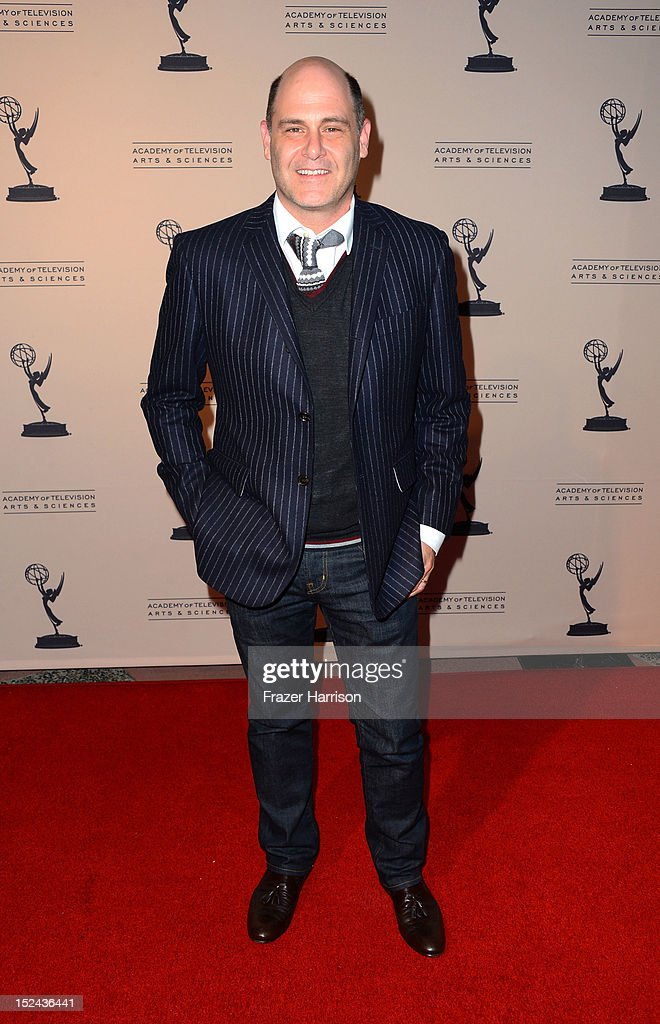 Actor <a gi-track='captionPersonalityLinkClicked' href=/galleries/search?phrase=Matthew+Weiner&family=editorial&specificpeople=4148376 ng-click='$event.stopPropagation()'>Matthew Weiner</a> arrives at The Academy Of Television Arts & Sciences Writer Nominees' 64th Primetime Emmy Awards Reception at Academy of Television Arts & Sciences on September 20, 2012 in North Hollywood, California.