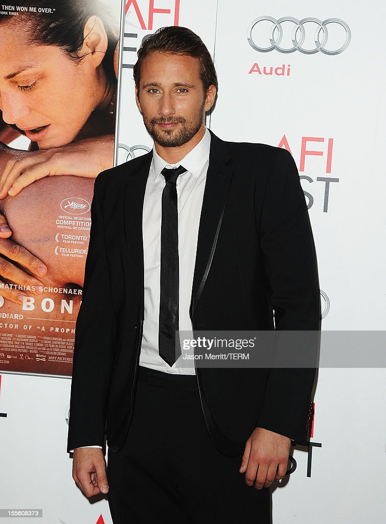 Actor Matthias Schoenaerts arrives at the premiere of 'Rust and Bone' during the 2012 AFI Fest presented by Audi at Grauman's Chinese Theatre on November 5, 2012 in Hollywood, California.