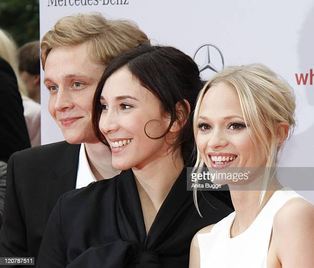 Actor Matthias Schweighoefer actress Sibel Kekilli and actress Mavie Hoerbiger attend the 'What a man' premiere at the Cinestar movie theater on...