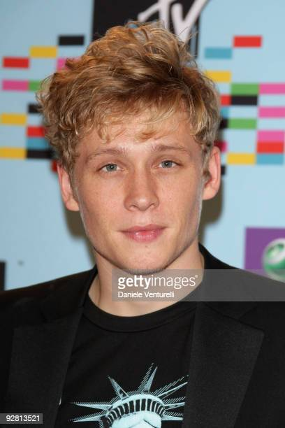 Actor Matthias Schweighoefer poses at the backstage boards during the 2009 MTV Europe Music Awards held at the O2 Arena on November 5 2009 in Berlin...
