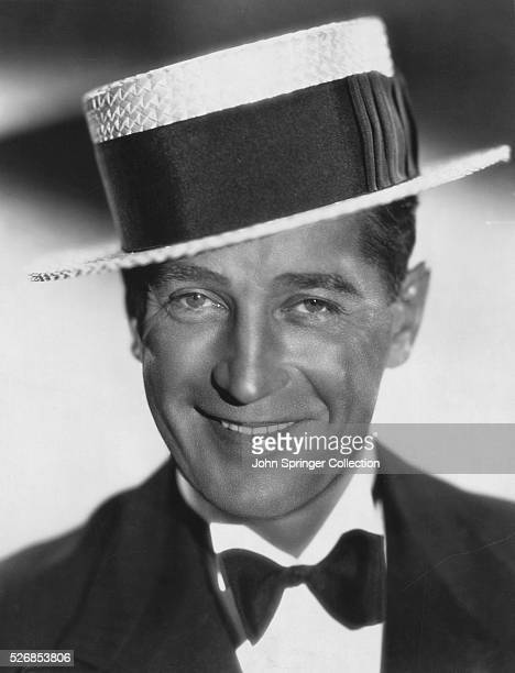 Actor Maurice Chevalier in Boater Hat and Tuxedo
