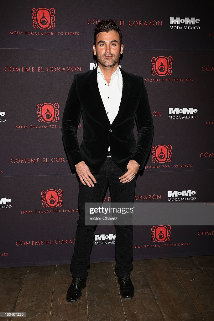 Actor Mauricio Mejia attends the Comeme El corazon Moda Tocada Por Los Dioses event at Estacion Indianilla on January 31, 2013 in Mexico City, Mexico.