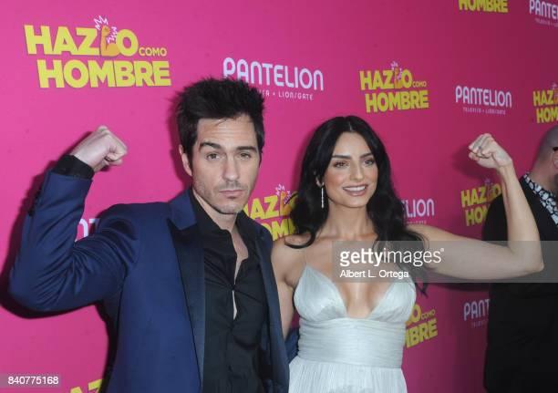 Actor Mauricio Ochmann and actress Aislinn Derbez arrive for the Premiere Of Pantelion Films' 'Hazlo Como Hombre' held at ArcLight Cinemas on August...