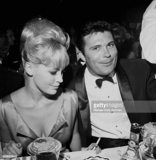 Actor Max Baer Jr with wife Joanne Hill attends an award party in Los Angeles California