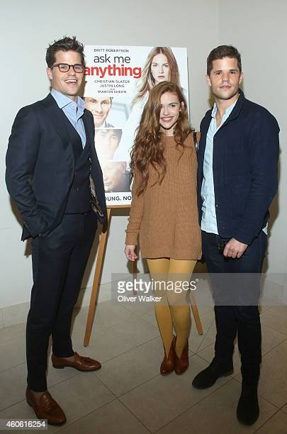 Actor Max Carver actress Holland Roden and actor Charlie Carver arrive at the 'Ask Me Anything' Los Angeles Premiere at Clarity Theater on December...