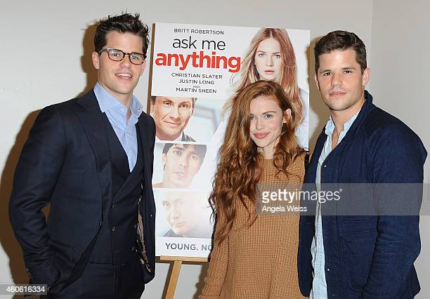 Actor Max Carver actress Holland Roden and actor Charlie Carver attend the screening of 'Ask Me Anything' at Clarity Theater on December 17 2014 in...
