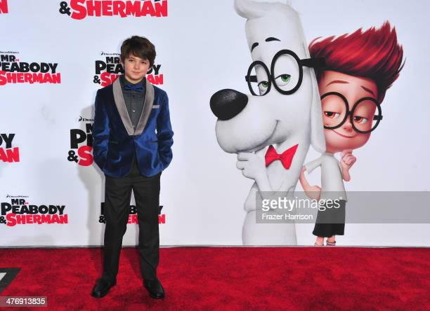 Actor Max Charles arrives at the Premiere of Twentieth Century Fox and DreamWorks Animation's 'Mr Peabody Sherman' at Regency Village Theatre on...