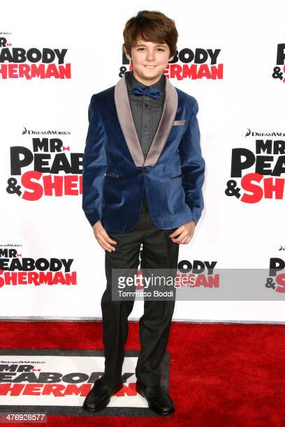 Actor Max Charles attends the 'Mr Peabody Sherman' Los Angeles premiere held at the Regency Village Theatre on March 5 2014 in Westwood California